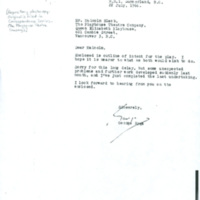 Letter from George Ryga to Malcolm Black, Playhouse Theatre Company, Forwarding Outline of The Ecstasy of Rita Joe: [stage play] <br /><br />